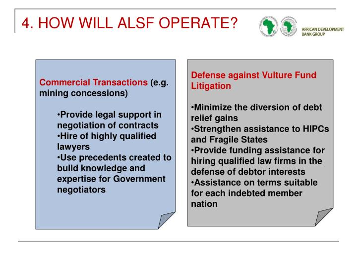 4. HOW WILL ALSF OPERATE?