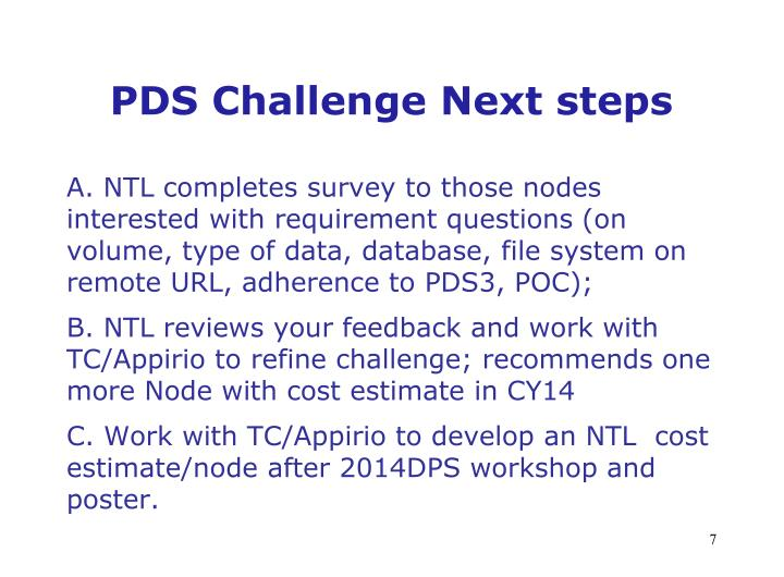 PDS Challenge Next steps