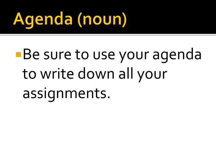Agenda (noun)
