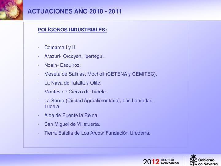 ACTUACIONES AÑO 2010 - 2011