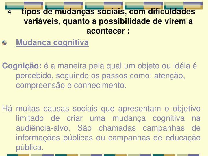 tipos de mudanças sociais, com dificuldades variáveis, quanto a possibilidade de virem a acontecer :