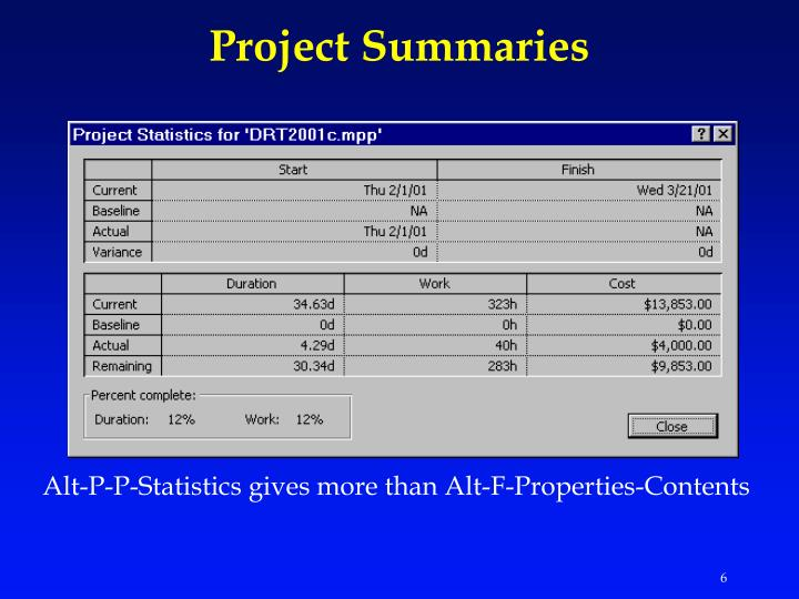 Project Summaries