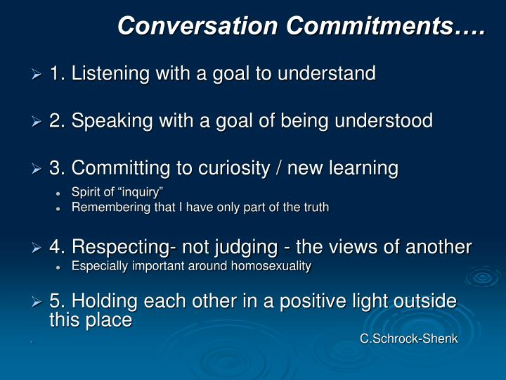 Conversation Commitments….