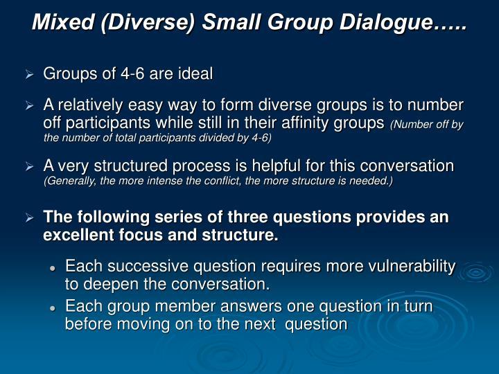 Mixed (Diverse) Small Group Dialogue…..