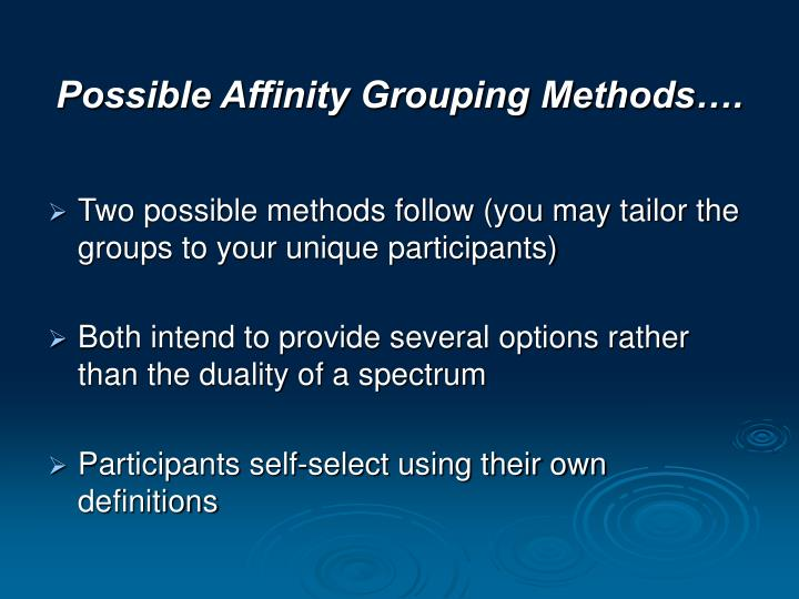 Possible Affinity Grouping Methods….