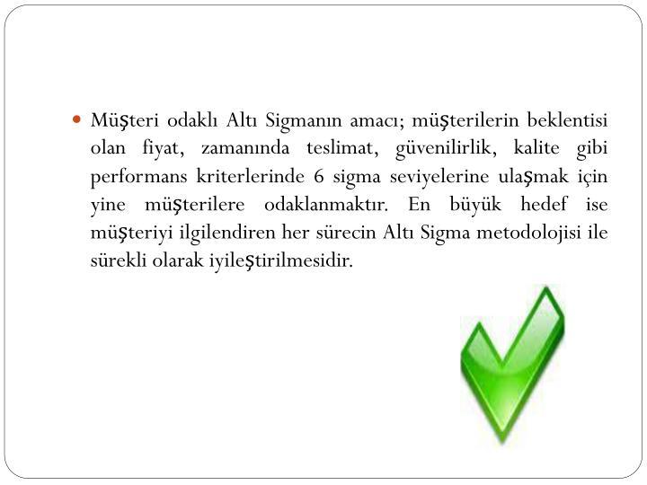 Müşteri odaklı Altı Sigmanın amacı; müşterilerin beklentisi olan fiyat, zamanında teslimat, güvenilirlik, kalite gibi performans kriterlerinde 6 sigma seviyelerine ulaşmak için yine müşterilere odaklanmaktır. En büyük hedef ise müşteriyi ilgilendiren her sürecin Altı Sigma metodolojisi ile sürekli olarak iyileştirilmesidir.
