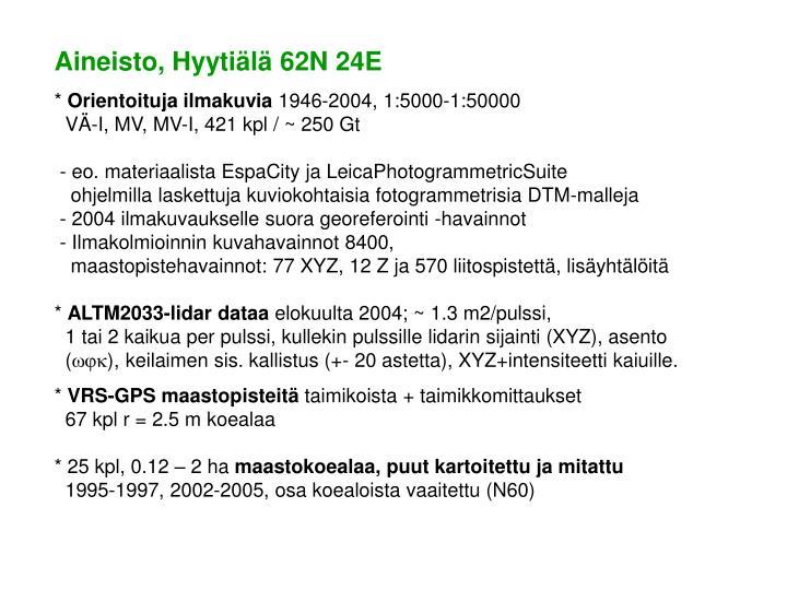 Aineisto, Hyytiälä 62N 24E