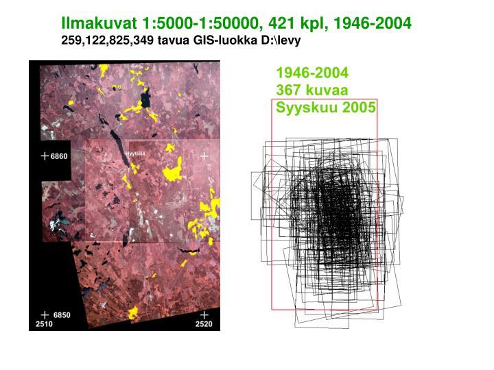Ilmakuvat 1:5000-1:50000, 421 kpl, 1946-2004