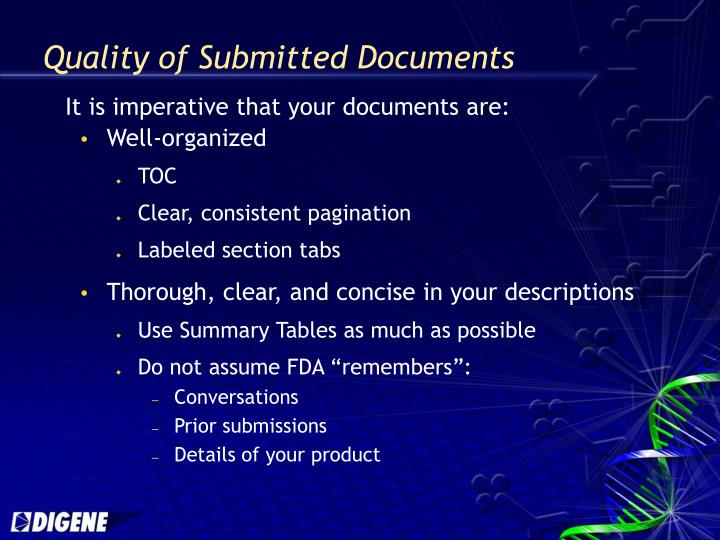 Quality of Submitted Documents