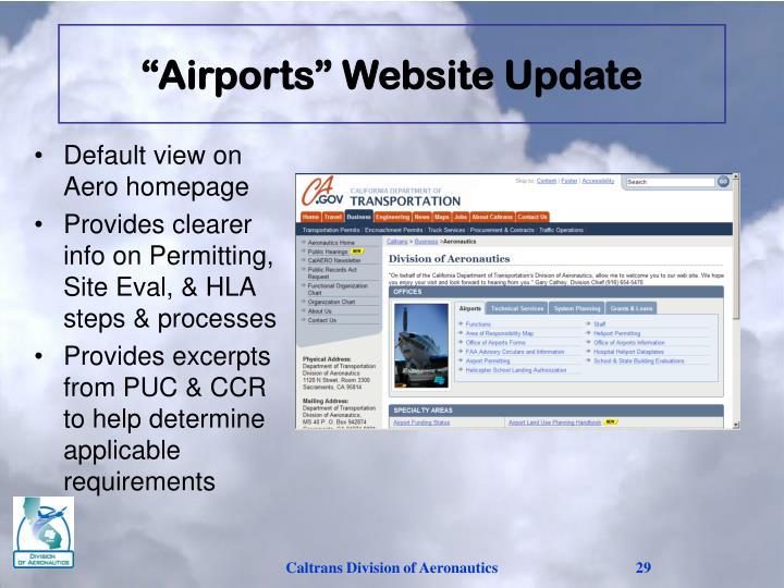 """Airports"" Website Update"