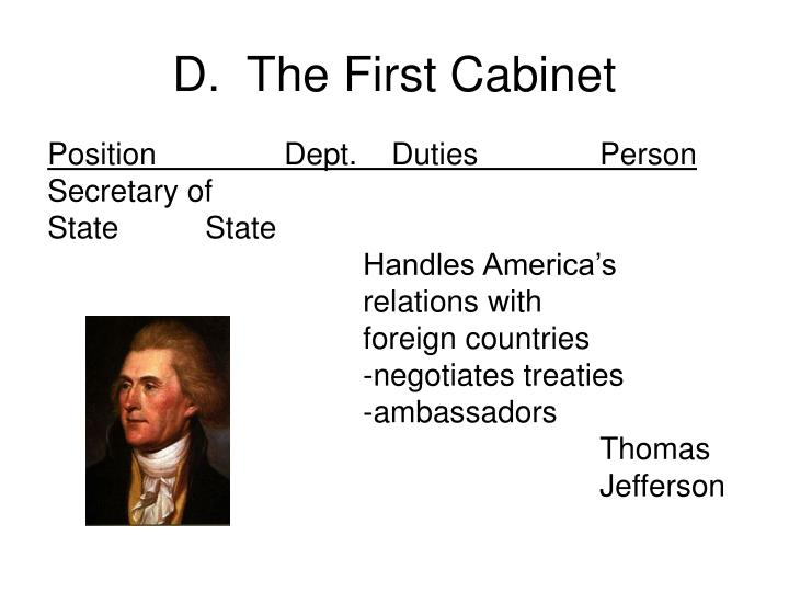 D.  The First Cabinet