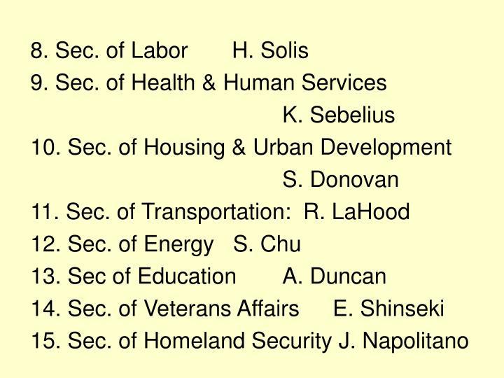 8. Sec. of LaborH. Solis