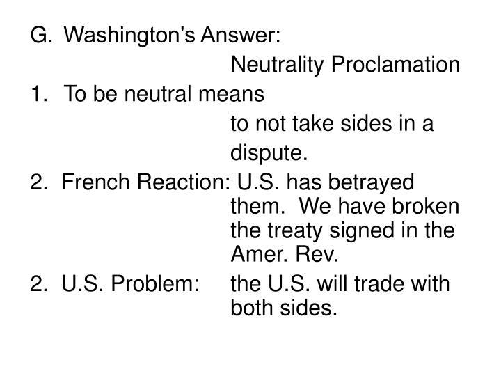 Washington's Answer: