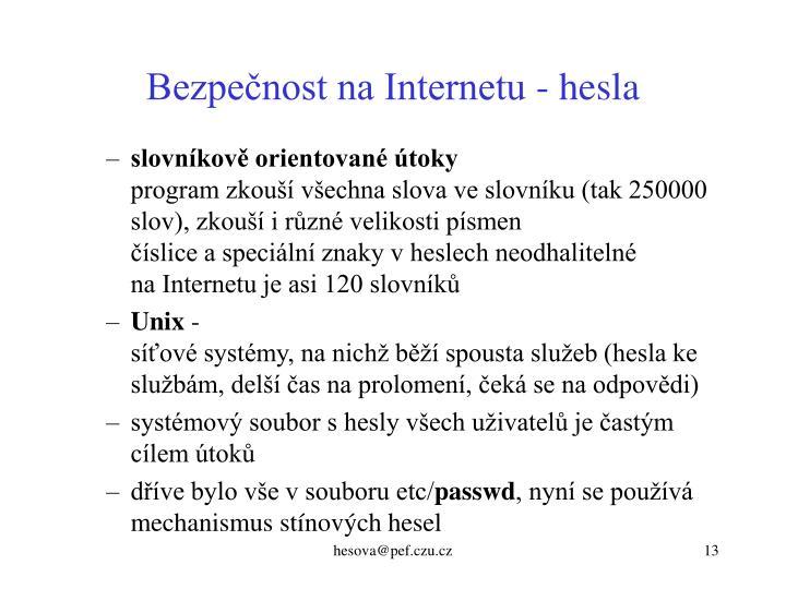 Bezpečnost na Internetu - hesla