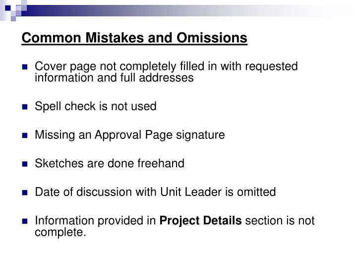 Common Mistakes and Omissions