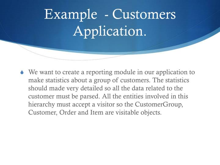 Example  - Customers Application.
