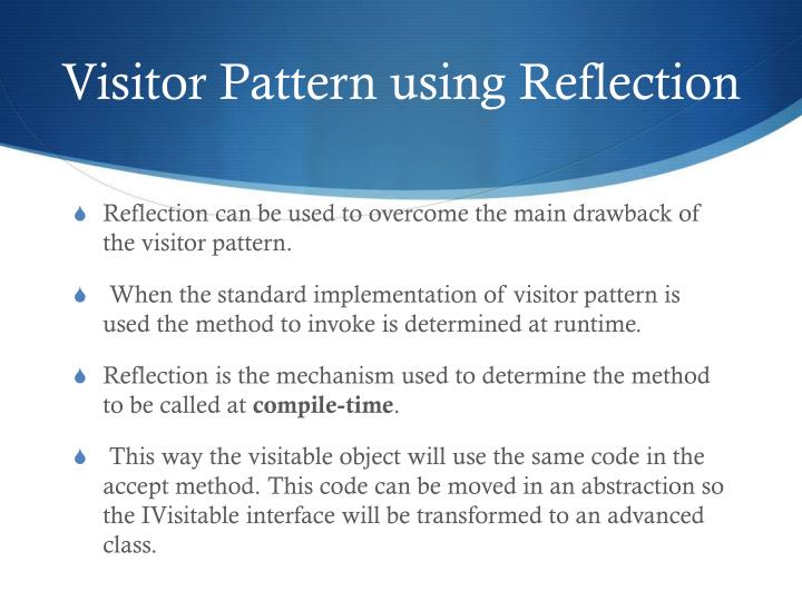 Visitor Pattern using Reflection