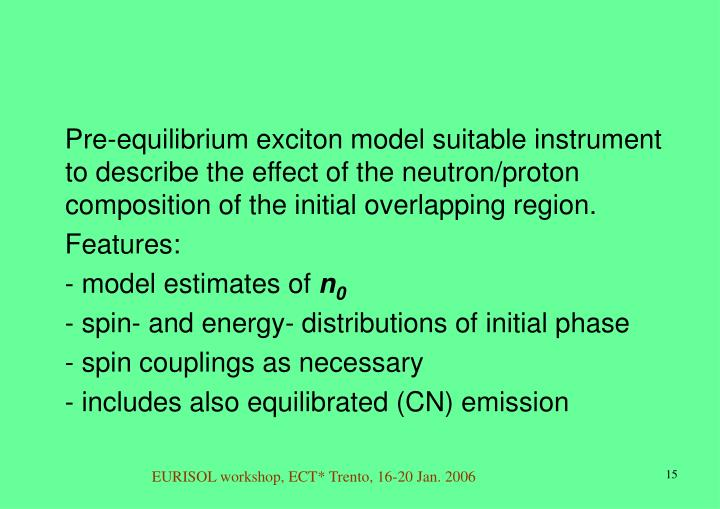 Pre-equilibrium exciton model suitable instrument to describe the effect of the neutron/proton composition of the initial overlapping region.