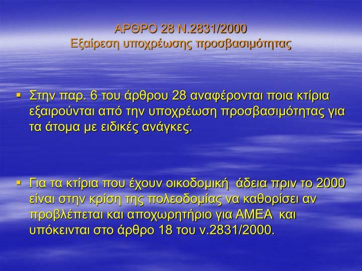 ΑΡΘΡΟ 28 Ν.2831/2000