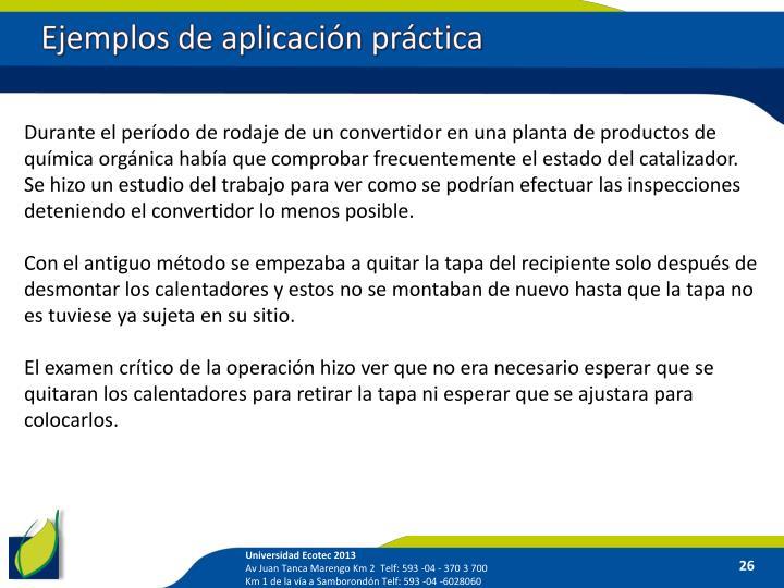 Ejemplos de aplicación práctica