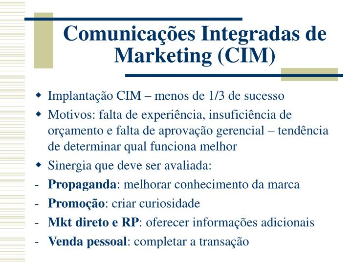 Comunicações Integradas de Marketing (CIM)