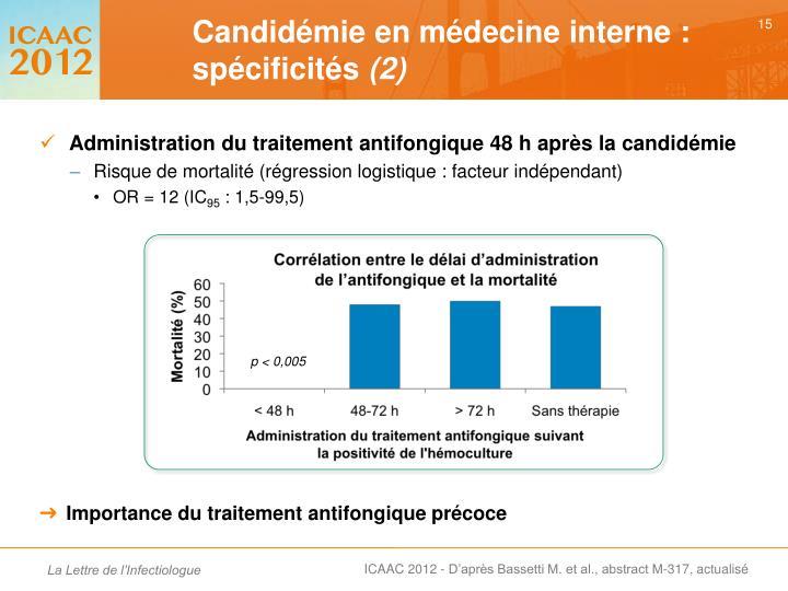 Administration du traitement antifongique 48 h après la candidémie