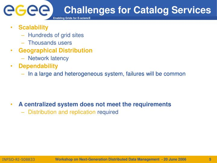 Challenges for Catalog Services