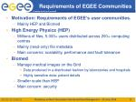 requirements of egee communities