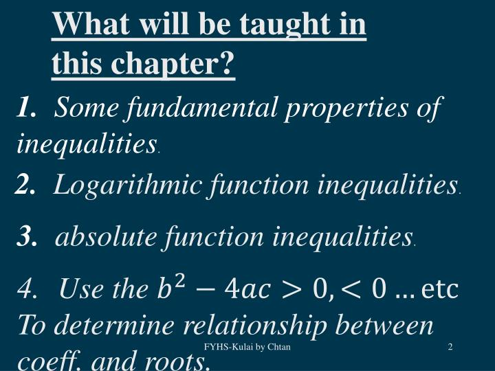 What will be taught in this chapter?