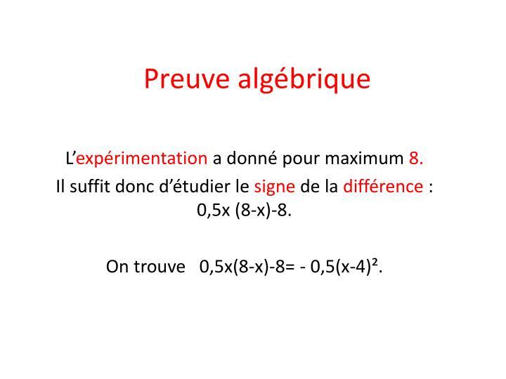 Preuve algébrique