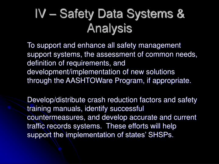 IV – Safety Data Systems & Analysis