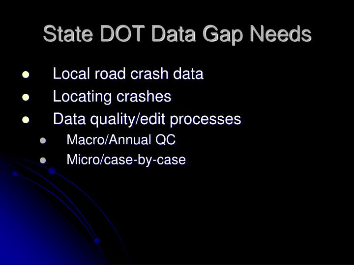 State DOT Data Gap Needs