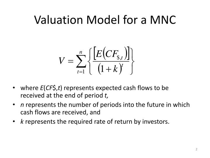 Valuation model for a mnc1