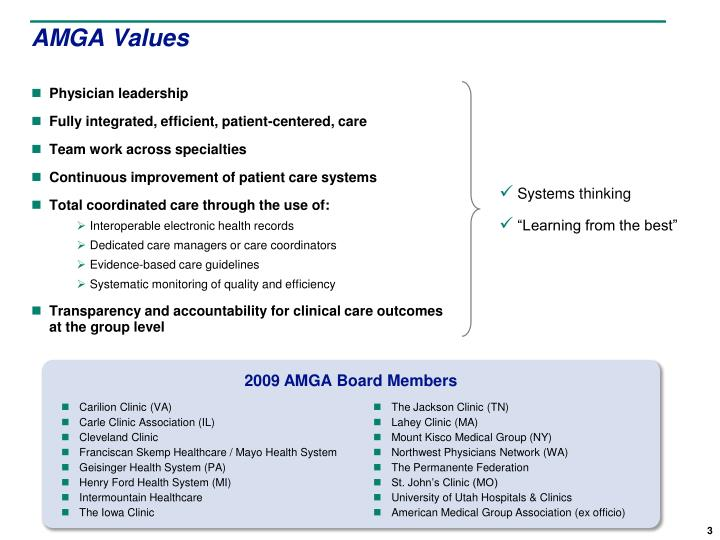 AMGA Values