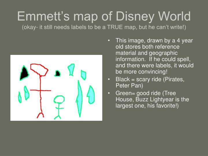 Emmett's map of Disney World