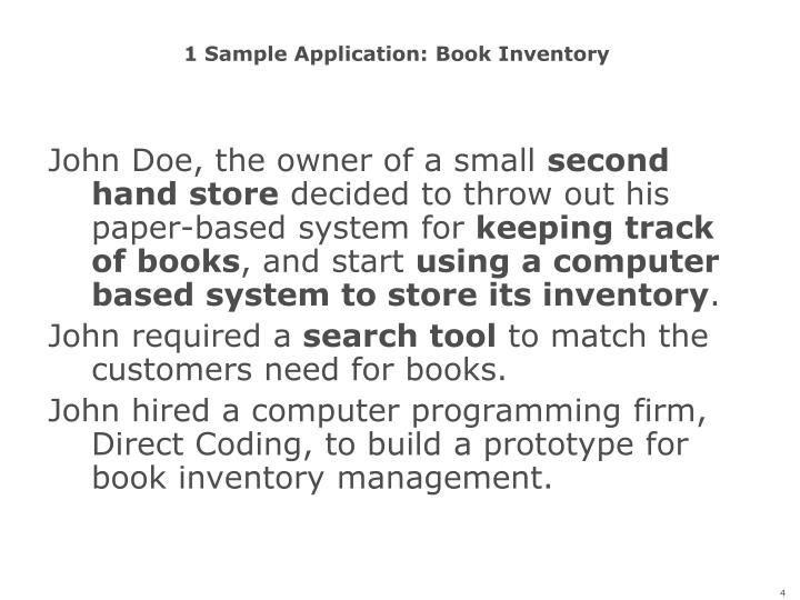 1 Sample Application: Book Inventory