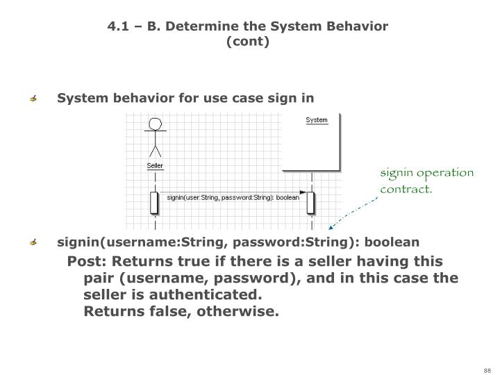 4.1 – B. Determine the System Behavior (cont)