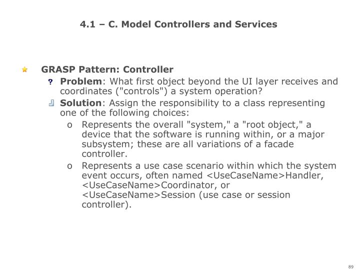 4.1 – C. Model Controllers and Services