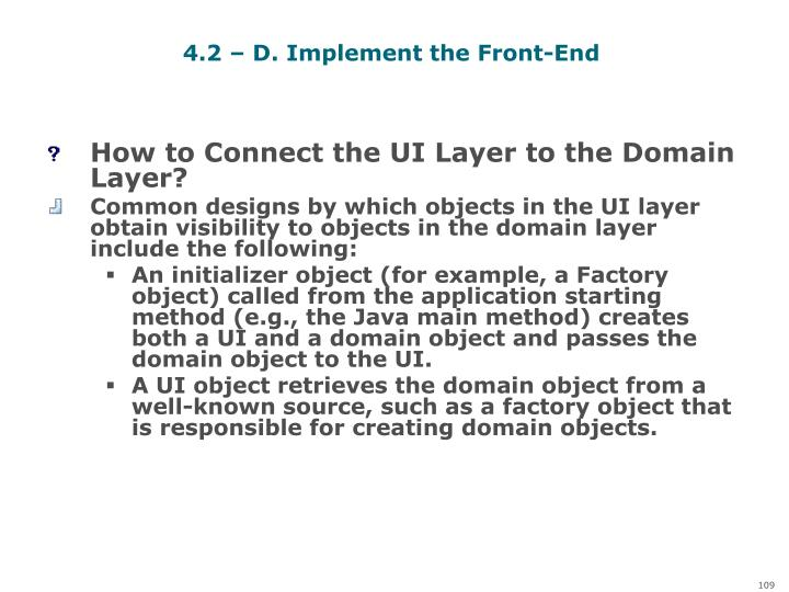 4.2 – D. Implement the Front-End