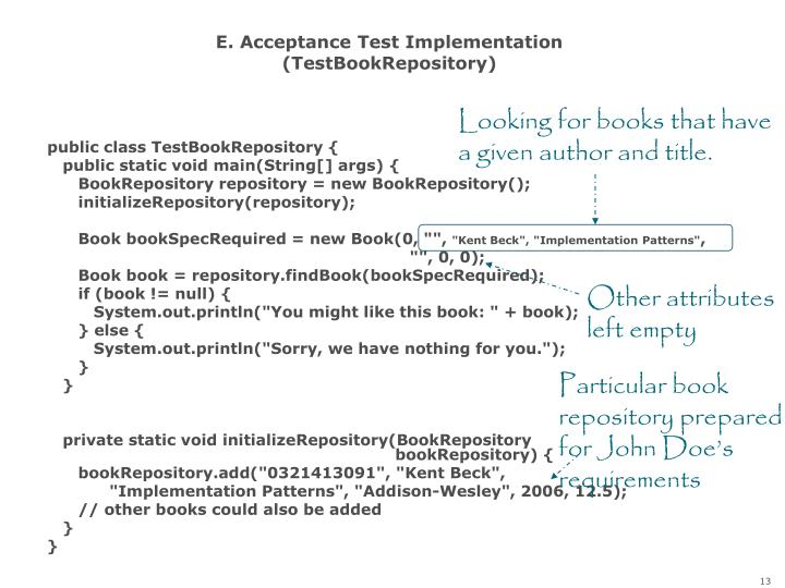 E. Acceptance Test Implementation (TestBookRepository)