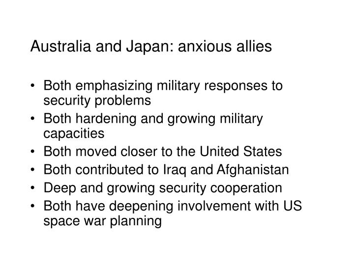 Australia and japan anxious allies