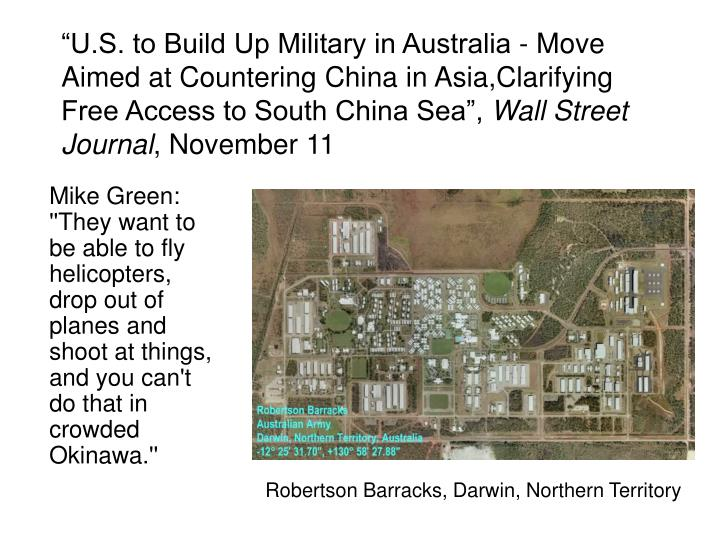 """U.S. to Build Up Military in Australia - Move Aimed at Countering China in Asia,Clarifying Free Access to South China Sea"","