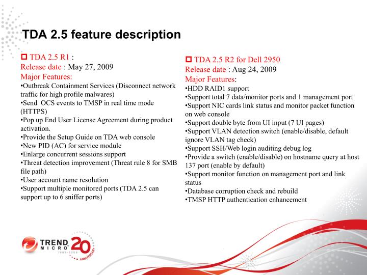 TDA 2.5 feature description