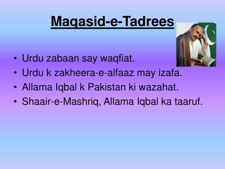 Maqasid-e-Tadrees