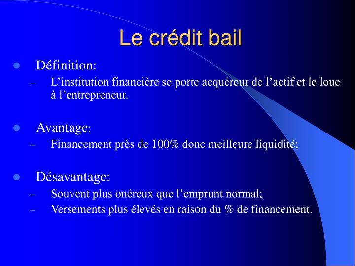 Le crédit bail
