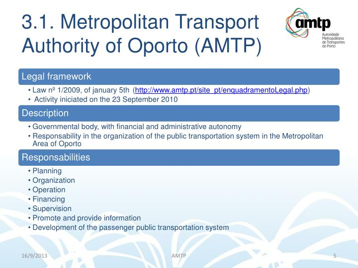 3.1. Metropolitan Transport Authority of Oporto (AMTP)