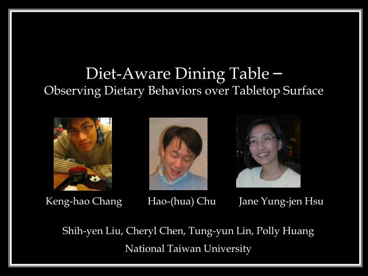 Diet aware dining table observing dietary behaviors over tabletop surface
