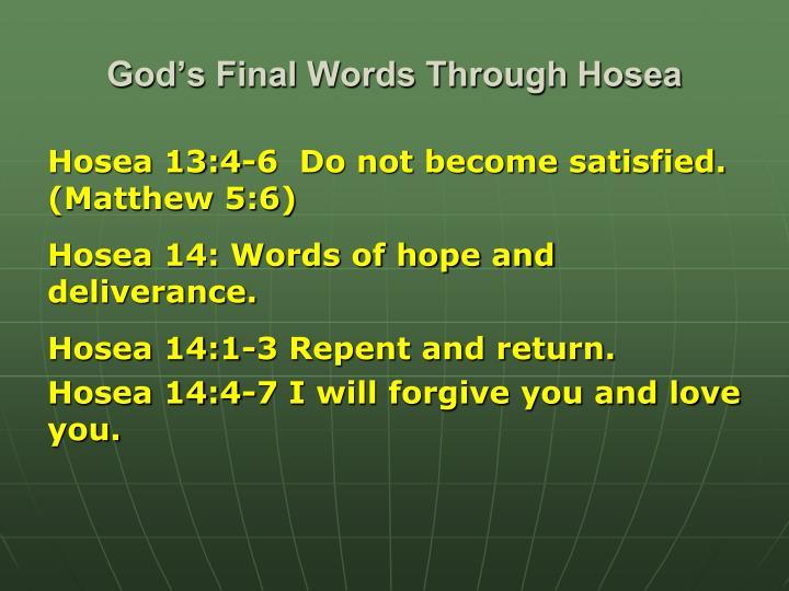 God's Final Words Through Hosea