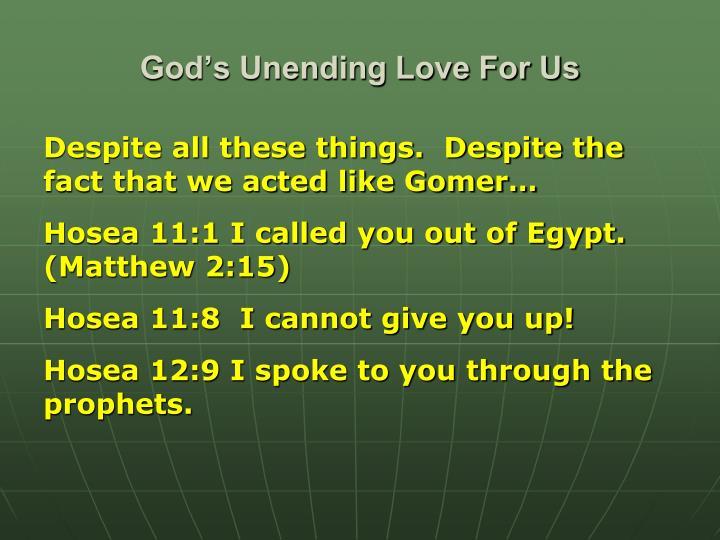 God's Unending Love For Us