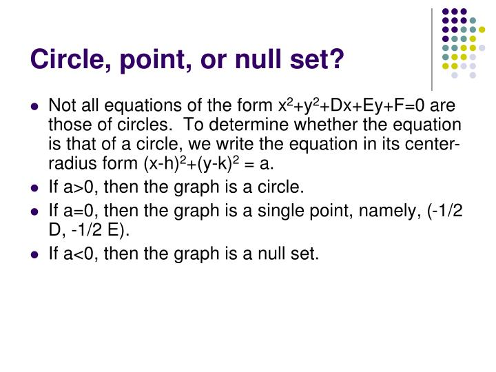 Circle, point, or null set?